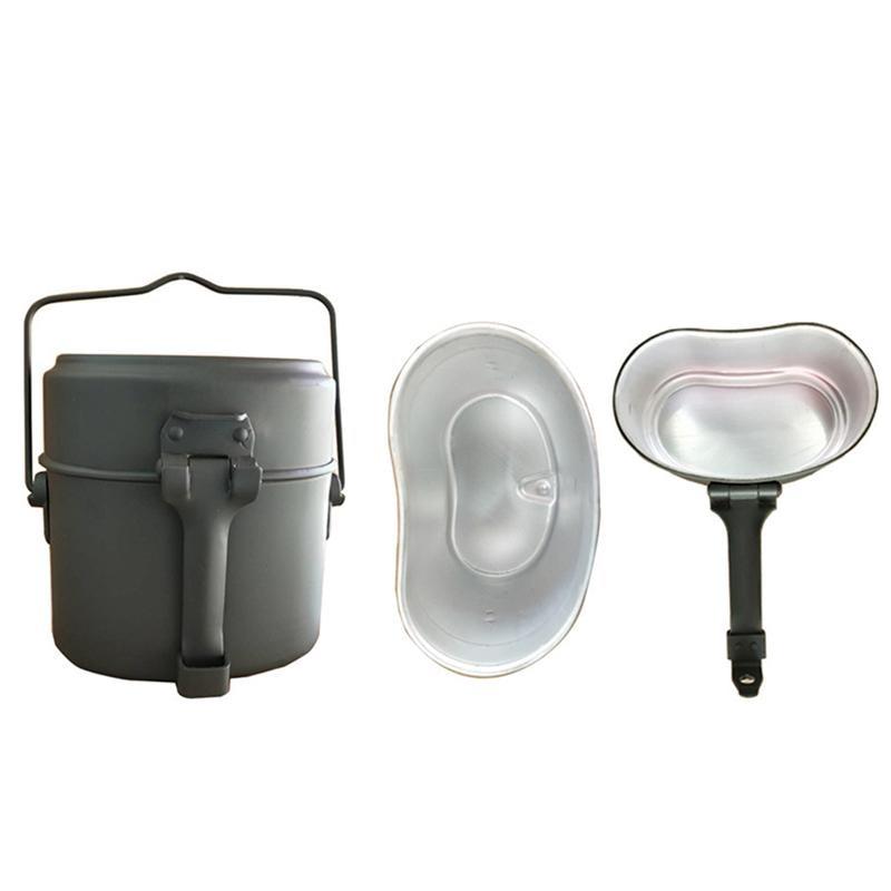 3 uds de almacenamiento Durable Simple de aluminio Portable al aire libre alimentos titular de Metal fiambrera Camping Mess Tin para hombre