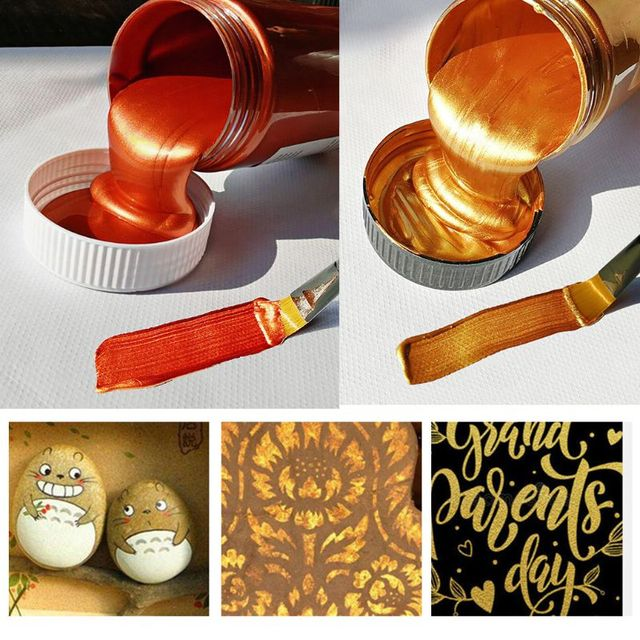60ml Gold Paint Metallic acrylic paint,waterproof not faded for Statuary Coloring DIY hand clothes painted graffiti Pigments 10