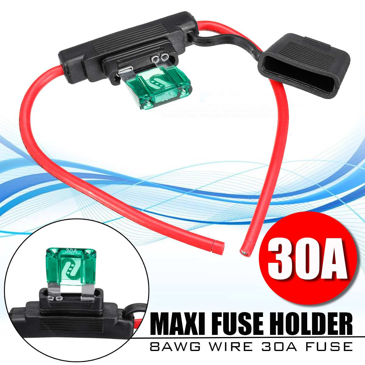 8awg automático à prova de intempéries inline lâmina fusível titular caixa maxi 30amp 8b & s fio + 30a fusível kit