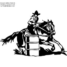 Volkrays Mode Auto Sticker Barrel Racing Cowgirl Meisje Rodeo Paard Accessoires Reflecterende Waterdicht Vinyl Sticker, 12 Cm * 19 Cm
