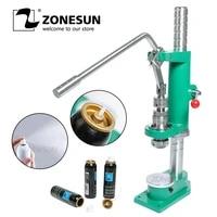 zonesun manual spray bottle aerosol aluminium bottle crimping capping pressing machine for sunscreen spray medicine car cleaner