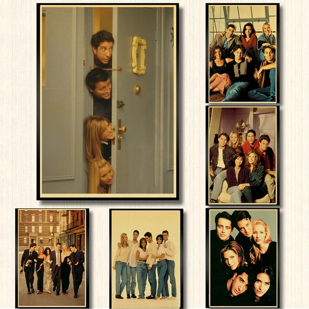 Serie de TV Friends, carteles de papel kraft retro, póster de decoración de pared para el hogar, Pinturas Modernas, póster de pared decorativo