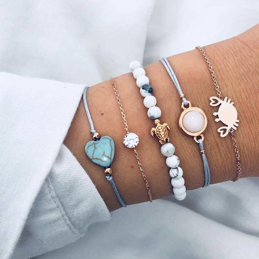 5 pièces/ensemble perles pierre tortue crabe cristal Bracelet ensemble pour les femmes géométrique coeur breloque déclaration animaux Braclets pour les femmes 2020