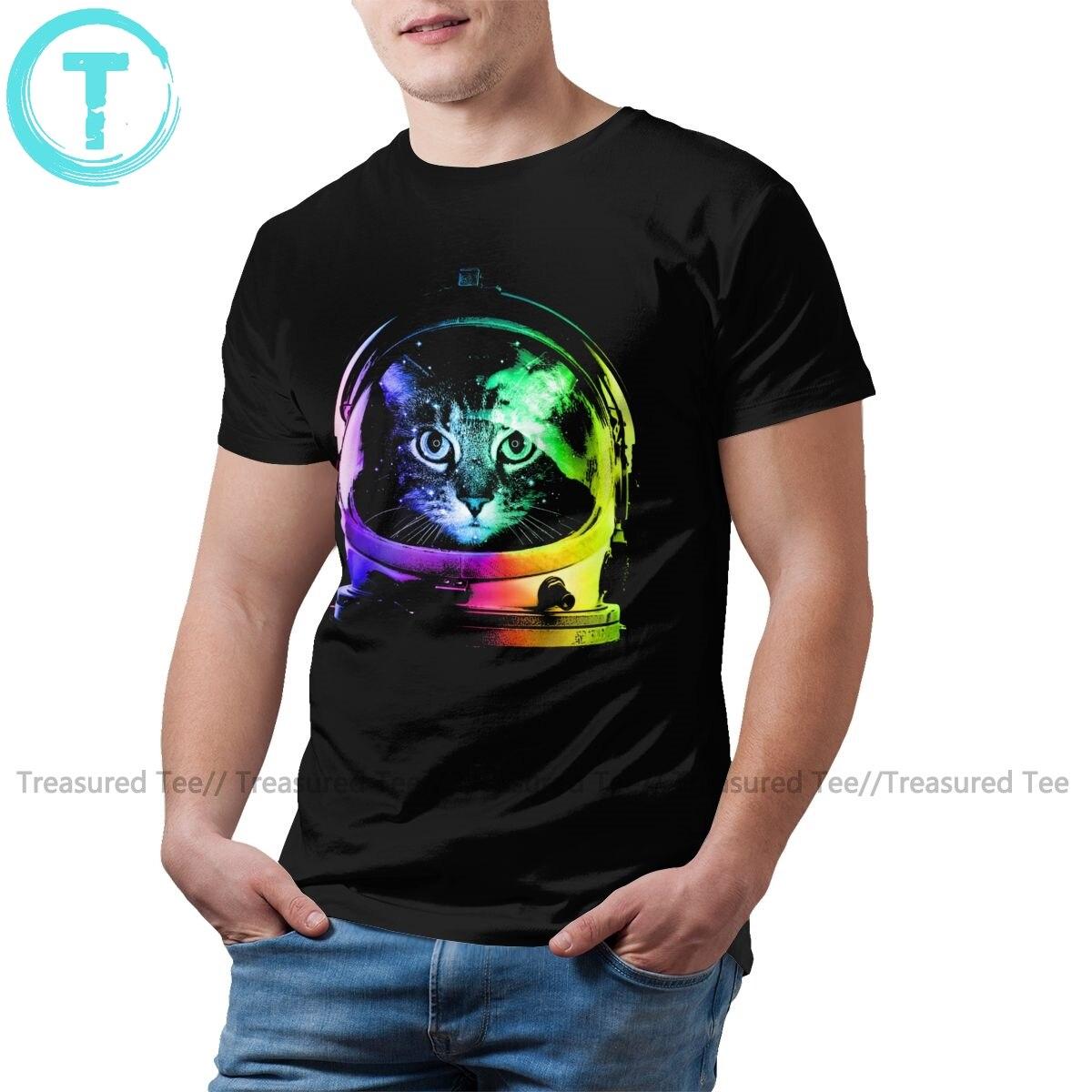 Camiseta de gatos del espacio camiseta de gato astronauta 100 por ciento algodón impreso camiseta divertida camiseta básica masculina
