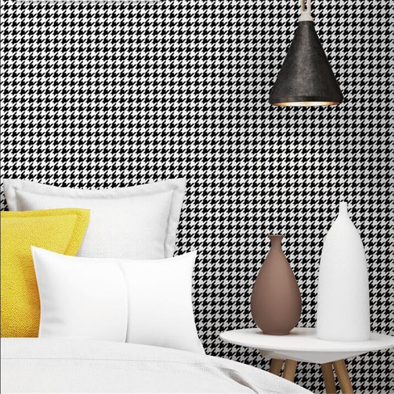 vinyl block stone brick modern wallpaper 3d feature blue purple brown black and white geometric wall paper living room office Houndstooth Black and White Plaid Wallpaper Modern Simple Ins Bedroom Living Room Wallpaper Nordic Wall Paper PVC Waterproof