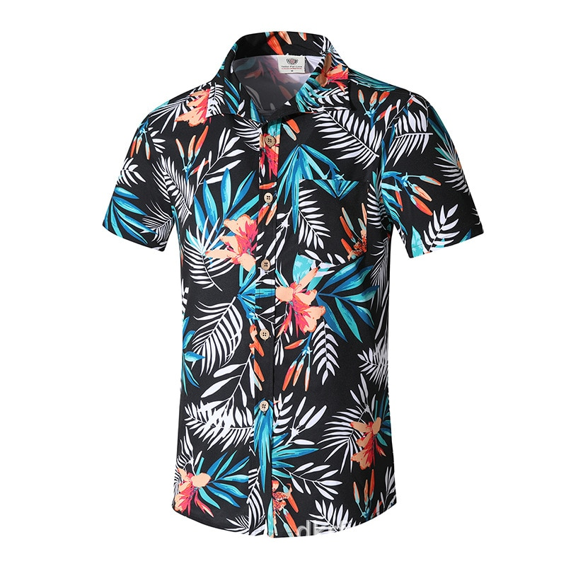 Plus Size 8XL Flower Printed Polyester Mens Beach Shirt Short Sleeve Holiday Casual Street Swimwear Men Shirts