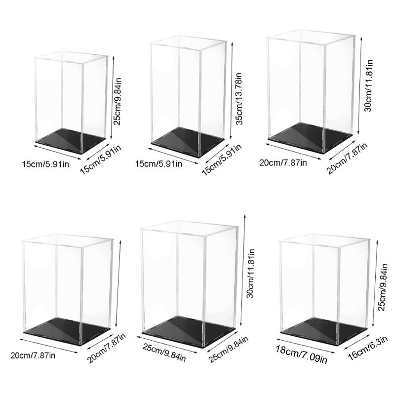 Clear Acrylic Display Case Black Base Dustproof Protection Model Toy Show Box Action Figures Showcase C5AF acrylic plastic action figures princess starwars avengers display case box dustproof display box loz building block bricks toys