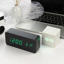 LED Wooden Alarm Clock Watch Table Voice Control Digital Wood Despertador Electronic Desktop USB/AAA