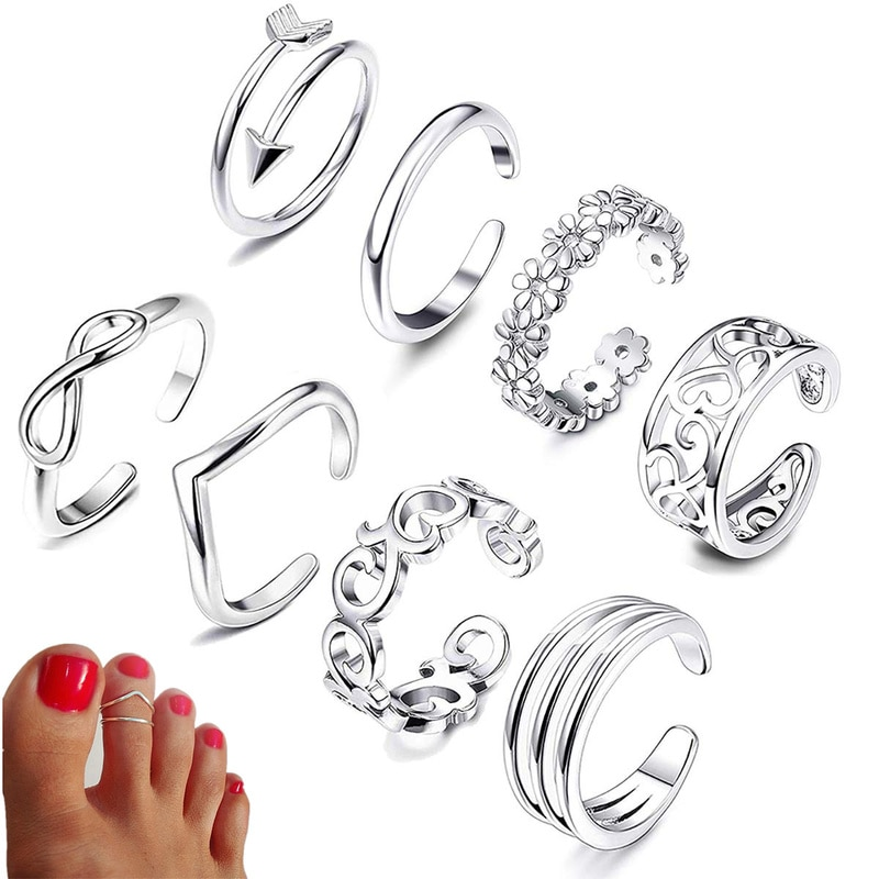 Summer Beach Vacation Knuckle Foot Ring Set Open Toe Rings for Women Girls Finger Ring Adjustable Je