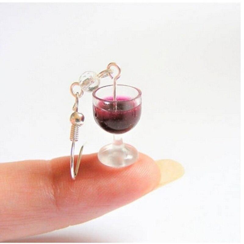 Pendientes de vino, pendientes de Comida en miniatura, joyería de Comida en miniatura hecha a mano, joyería de Mini comida, regalo para amantes del vino
