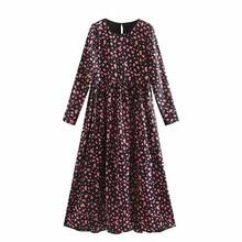 Women Elegant Print O-Neck Midi Dress Buttons Long Sleeve Chic Back Split Female Casual Stylish Chic A-line Dresses Vestidos