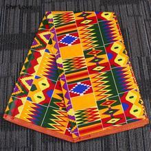 Chzimade 1Yard Ankara africain véritable cire tissu couleur Orange coton fleur imprimé tissu pour les femmes robe bricolage couture artisanat