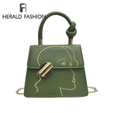 Herald Fashion Trendy Women Handbag Small Chain Shoulder Cross Body Bag Flap Green PU Leather Ladies Messenger Bag 2019 New