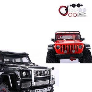 For AXIAL SCX10 III JEEP Wrangler TRX6 2pcs round spotlight car front bumper light ZSP058