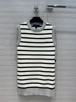 fashion knitted striped dresses for women autumn new 2021 high end brand black white contrast slim dress o neck sleeveless dress