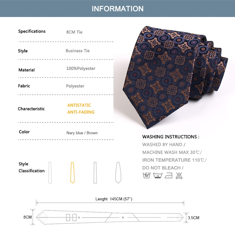Brand New Classical Luxury Jacquard Tie High Quality 8CM Wide  Ties For Men Business Suit Work Necktie Fashion Formal Neck Tie