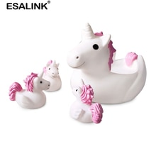 ESALINK بطة من المطاط لعب الأسرة الطفل الأم سلسلة 4 قطعة طفل لطيف الاستحمام لعب المياه بطة ضغط الصوت BB فتاة بوي هدية