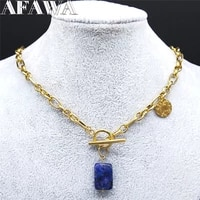 2021 fashion stainless steel natural stone necklace chain for women gold color neckless jewelry bijoux femme nz24s02