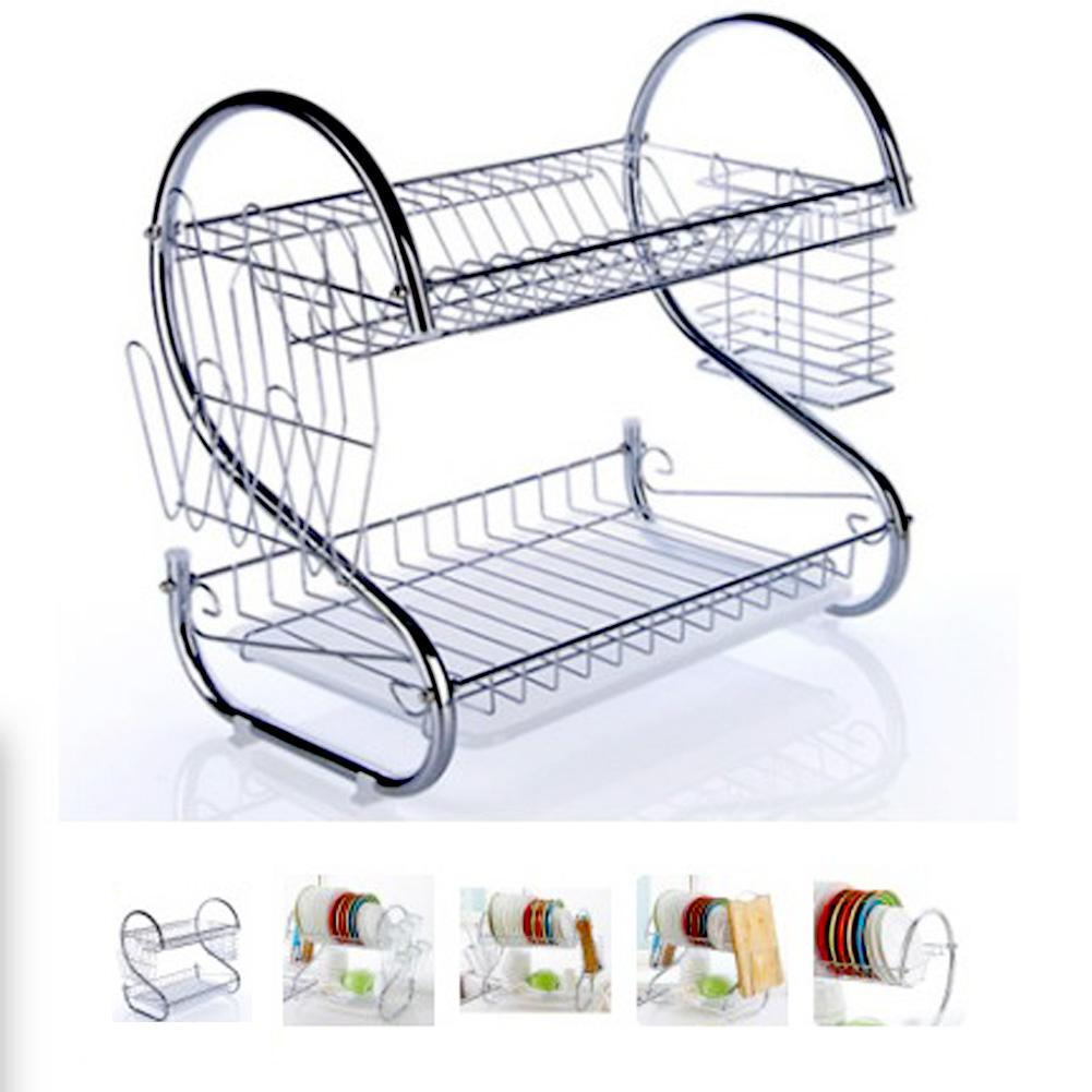 2-Tier Stainless Steel Dish Drying Rack Kitchen Collection Shelf Drainer Organizer Dish Drainer Dish Rack For Kitchen Organizer