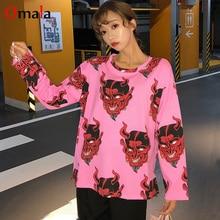 spring Women cartoon devil print T Shirt Harajuku Oversized Casual tshirt Graphic Funny Female T-Shirts streetwear pink tee Tops