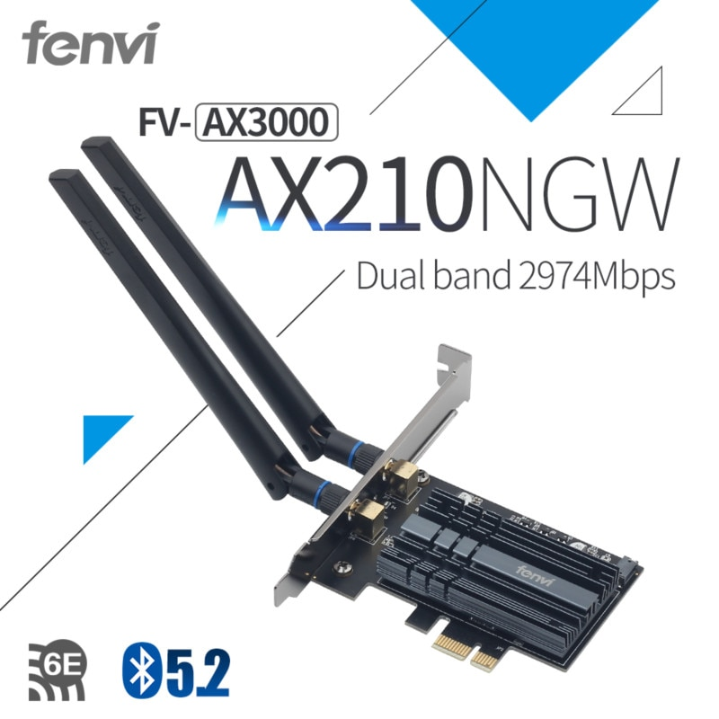 3000Mbps PCI-e Wireless Adapter Intel AX210 wifi 6E Wlan Card Bluetooth 5.2 Dual Band 2.4GHz/5GHz MU-MIMO AX200NGW 802.11ax