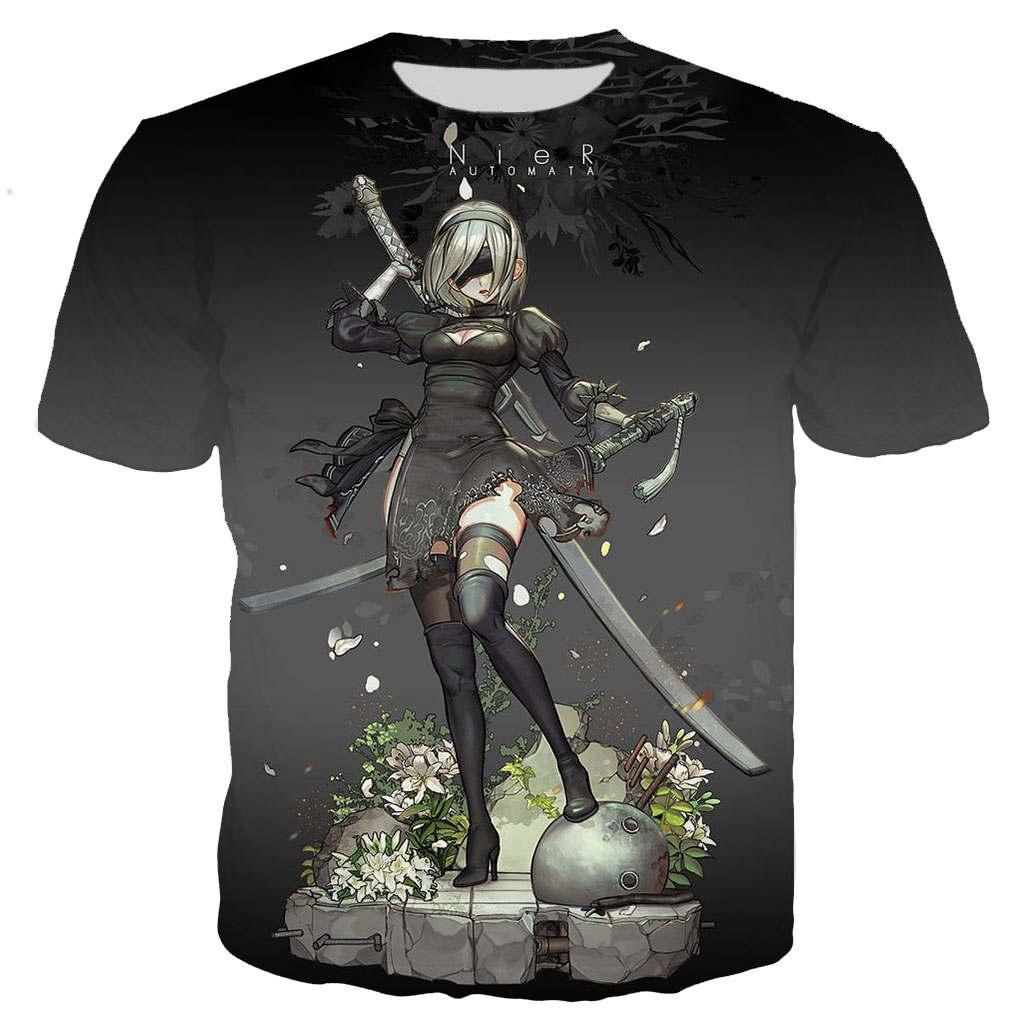 New cool t-shirt men / women Anime Nier Automata 3D printed short sleeve t-shirts Harajuku style t shirt top