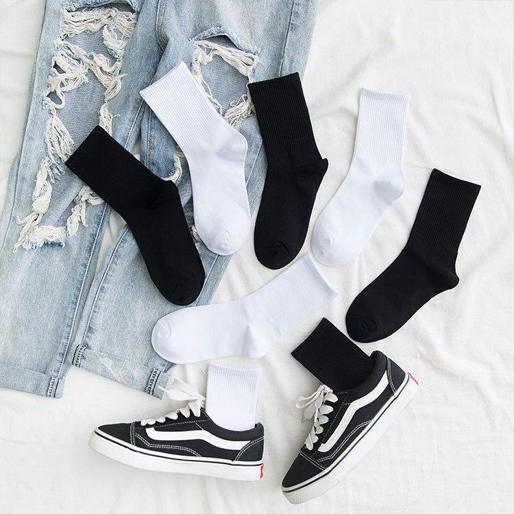 Мужские носки, хлопковые всесезонные носки, черные и Женские однотонные натуральные носки, высокие эластичные мужские спортивные носки