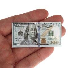 Mini billets de banque miniatures 100 Dollars, jouets pour enfants, cadeaux 112, maison de poupée, accessoires créatifs, pièces/ensemble 100