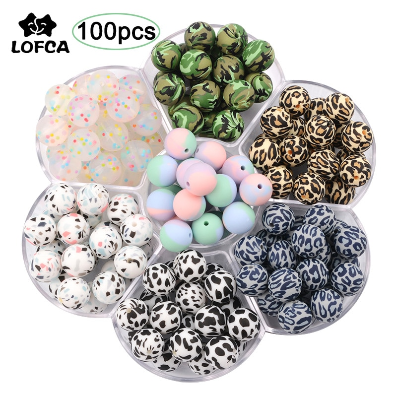 LOFCA 100pcs Leopard Print 12/15/19mm Silicone Beads Baby Teether Teathing Beads Tie-dye DIY Chewable Confetti Teething