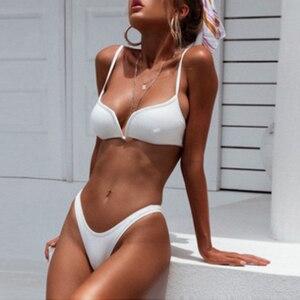 Sexy Backless Solid Color Bikini Swimwear Biquini Women Push Up Beach Wear Swimsuit Femme Thong Bikini Sets Bathing Suits