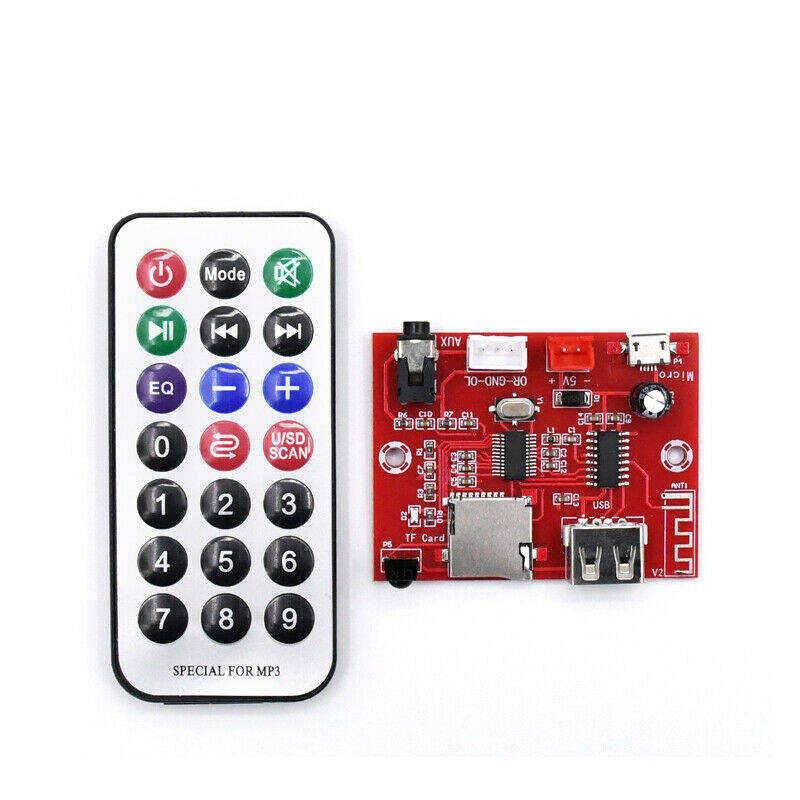 Módulo de Audio Bluetooth 5,0 placa decodificadora de MP3, entrada USB AUX TF + mando a distancia