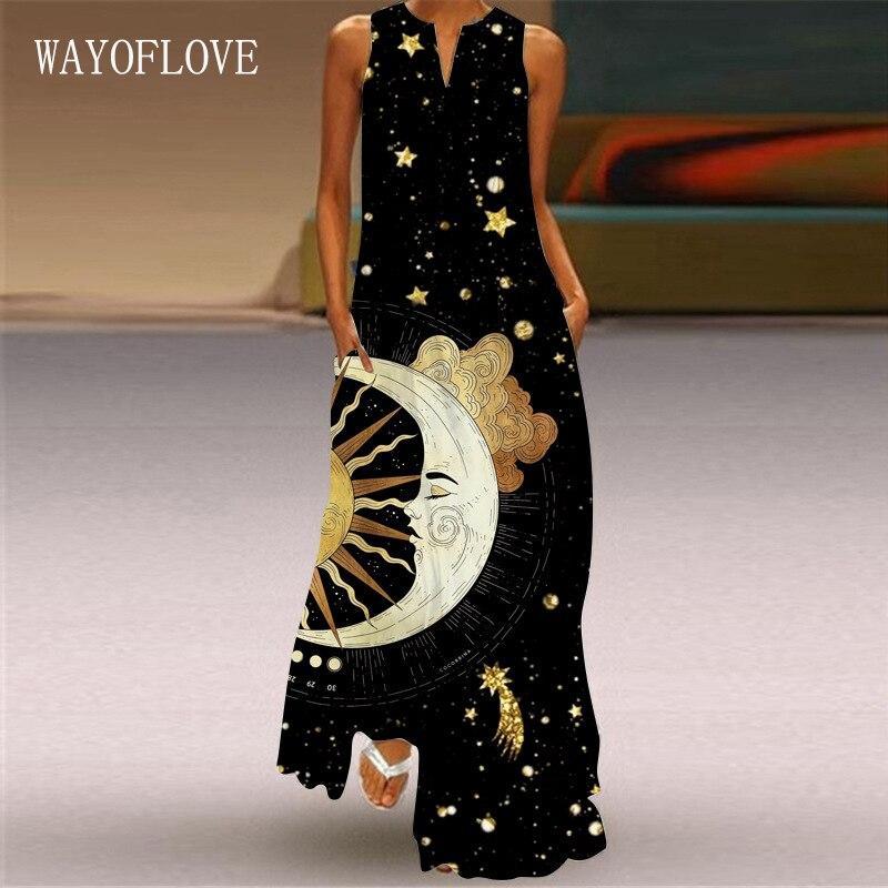 WAYOFLOVE Moon Star Print Black Dress 2021 Elegant Casual Plus Size Long Dresses Summer Woman Sleeveless Girls Beach Dress Women