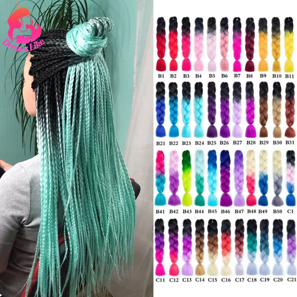 Dream Like 24 inch Ombre Color Synthetic Hair Braids Pre Stretched Wholesale Jumbo Braiding KaneKalo