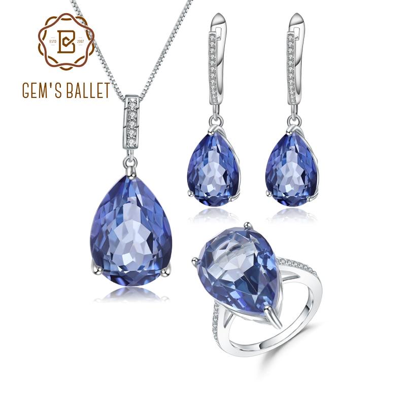 GEMS BALLET 925 plata esterlina gota de agua gema joyería establece Natural místico cuarzo colgante anillo pendientes para las mujeres boda