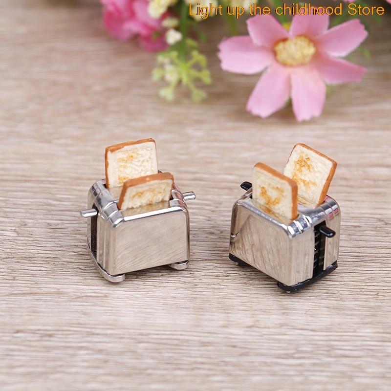 Dollhouse Mini Bread Machine With Toast Miniature Dollhouse Accessories Cute Decoration Toaster 1/12 Scale 1 12 scale dollhouse miniature household appliance model white drum washing machine
