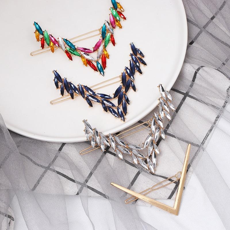 Horquillas triangulares de diamantes de imitación para el cabello, broches de broche para el pelo hechos a mano coreanos, accesorios para el cabello 2019