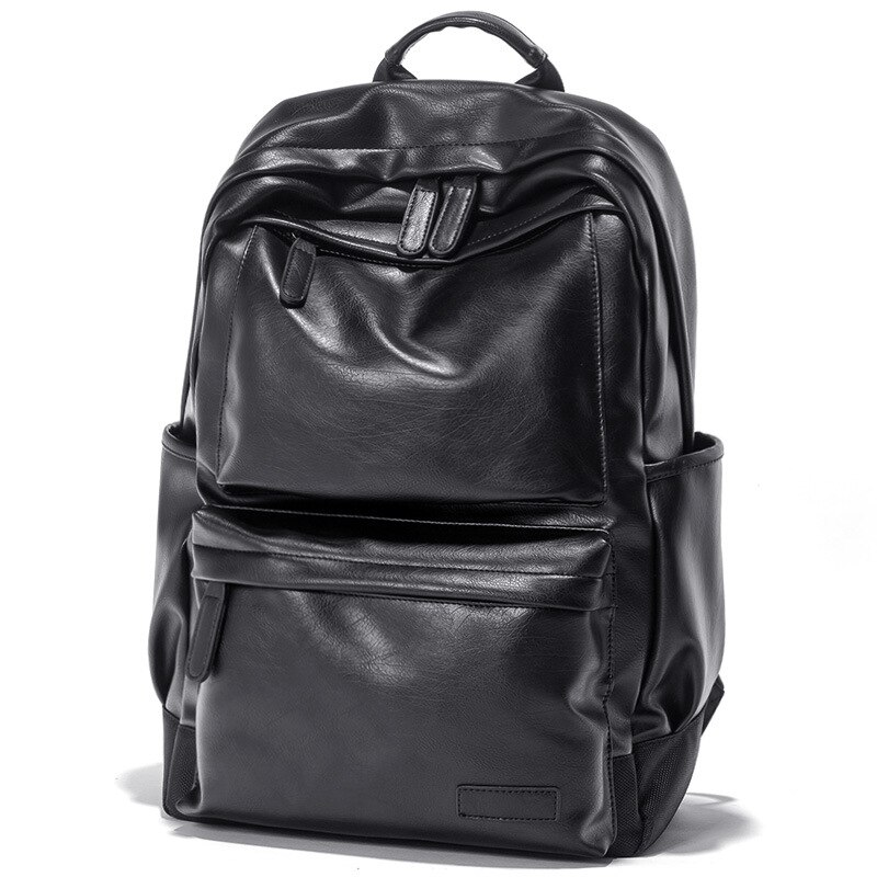 Leather Laptop Backpack,Travel PU Backpack Large Capacity Casual Satchel School Bag for Men