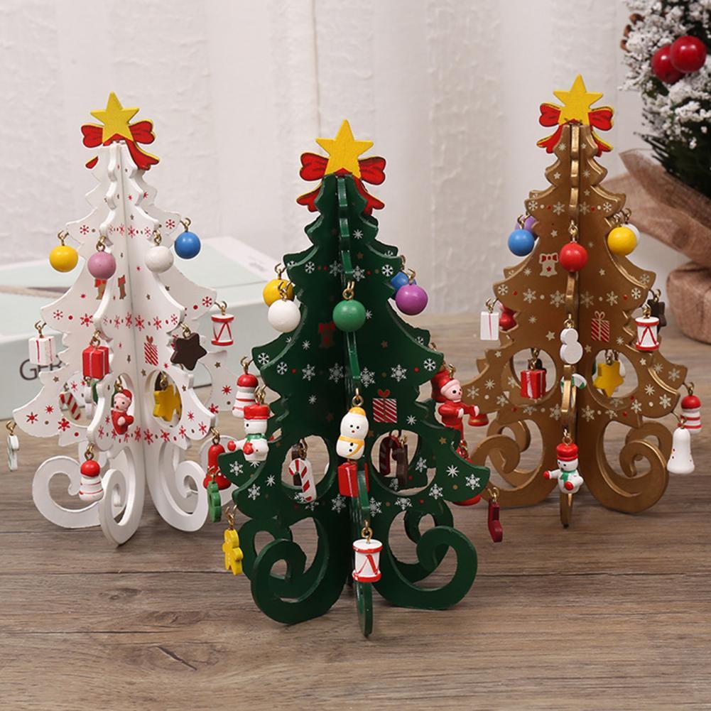 Árbol de navidad de madera estéreo hecho a mano para niños, adornos...