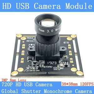 HD 8mm 12mm Lens High Speed 120FPS Global Shutter Monochrome USB Camera Module OTG UVC Linux 720P Mini CCTV Surveillance Webcam