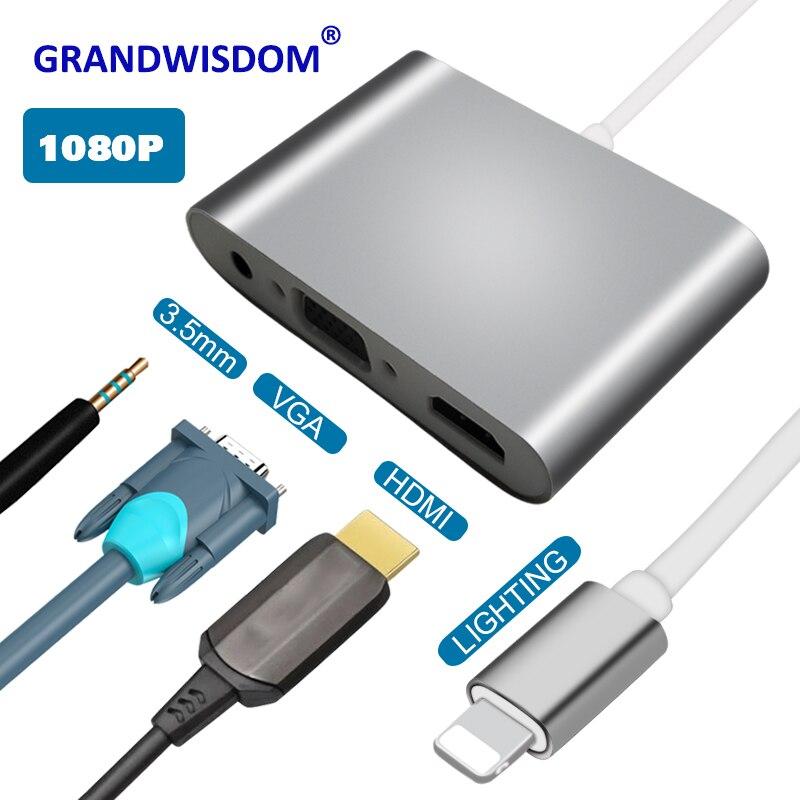 Для Lightning-HDMI VGA Jack аудио ТВ адаптер конвертер совместим с iPhone X, для iPhone 8 7 7 Plus 6 6S для iPad серии YH2