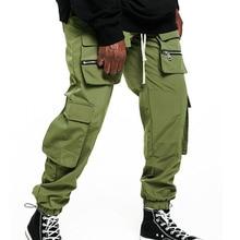 Hip hop cargo pants men joggings Streetwear fashion sweatpants for men Multi-pocket Drawstring small