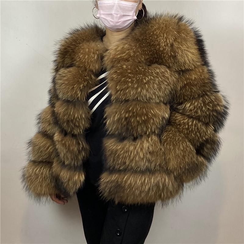 Real Raccoon Fur Silver Fox Coat Length60cm  Sleeve Length60cm Women Winter Fluffy Hot Sale