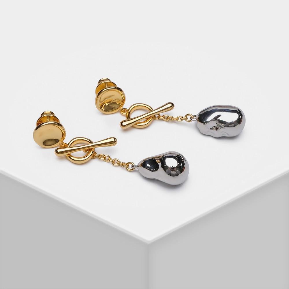 EH15026-H11 Amorita Boutique Detachable Design Stylish metal Baroque pearl shape drop earrings