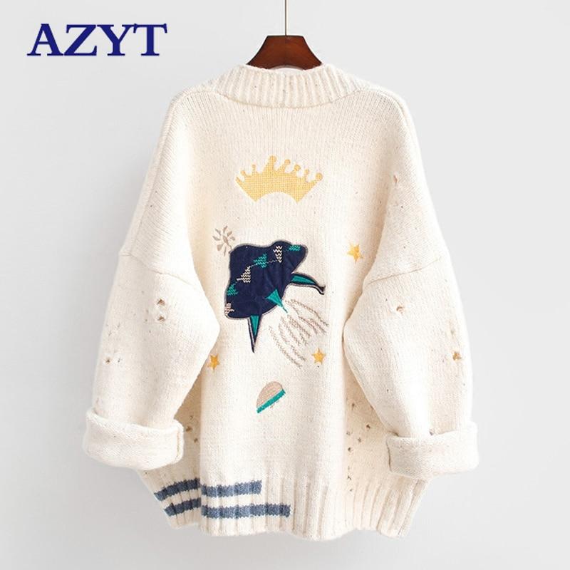 2020 New Cartoon Embroidery Cardigans Jacket Harajuku Loose v neck Knit Sweater Tops female Winter Women Sweater Cardigans