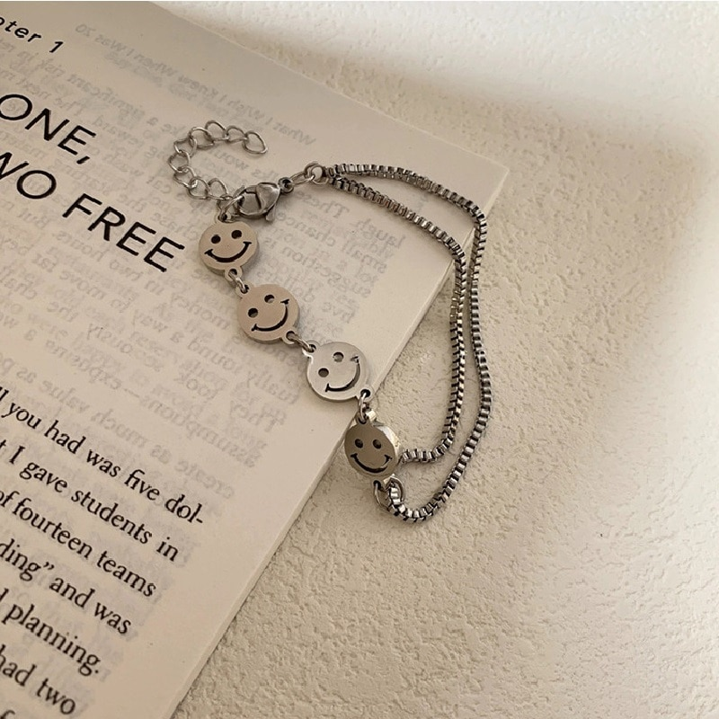Stainless Steel Titanium Steel Smiley Face Bracelet Men and Women Do not Fade Hip-Hop Retro Chain Pendant Double-Layer Bracelet  - buy with discount