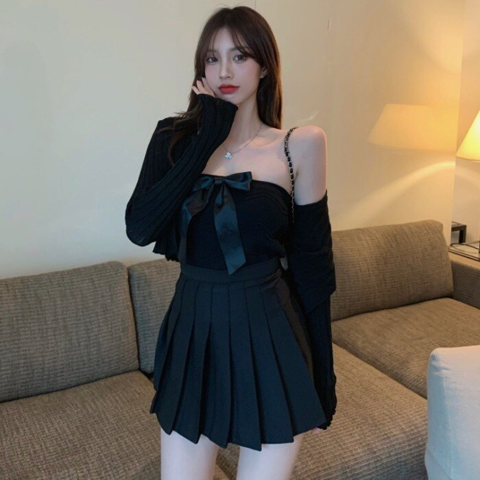 2021spring New Bow Tank-Top Gentle Knitted Cardigan Pleated Skirt Fashion Suit Women