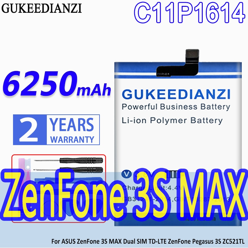 Batería para teléfono ASUS C11P1614, para ZenFone 3S MAX, Dual SIM, TD-LTE,...