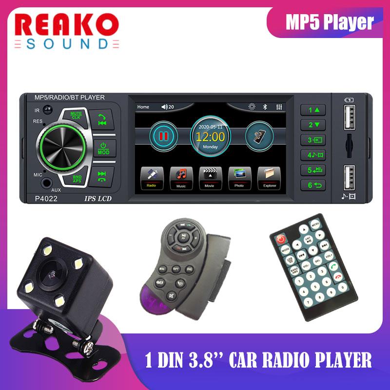 REAKOSOUND 3.8'' 1Din Car Radio Universal Car MP5 Player IPS Screen Bluetooth FM Audio Stereo Radio Wheel Control Steering
