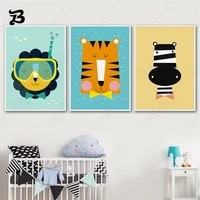 canvas painting cartoon lion cat panda tiger zebra nordic animals posters and prints wall art pictures for baby girl kids room