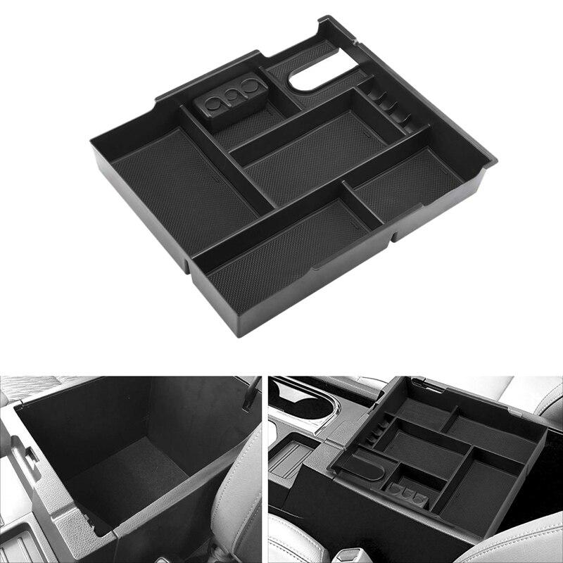 Organizador de consola central caja de reposabrazos de bandeja de inserción caja de almacenamiento secundaria para Toyota-Tundra 2014-2019